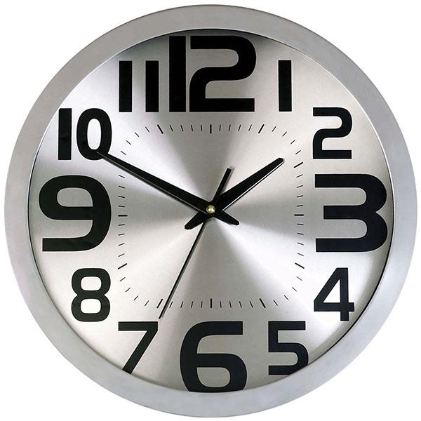 שעון קיר כסוף מסגרת מתכת