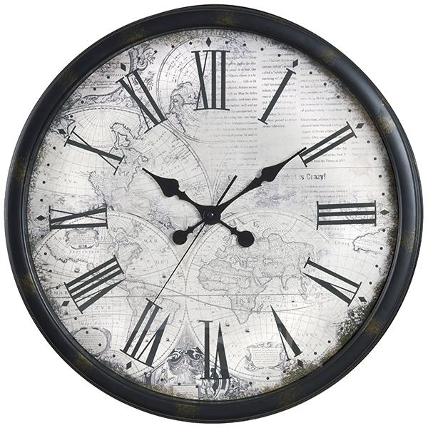 שעון קיר זכוכית מפת עולם