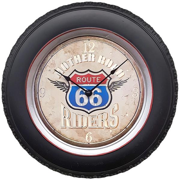 """שעון קיר ROUTH 66 RIDERS עם תאורת לד ע""""י שלט רחוק"""