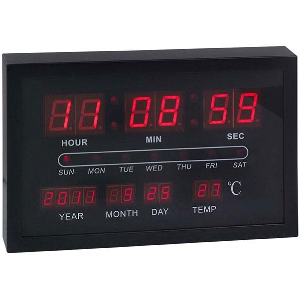 שעון קיר דיגיטלי תאריכון מד מעלות שחור