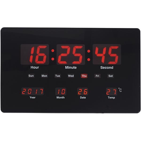 שעון קיר | שולחן דיגיטלי תאריכון מד מעלות שחור