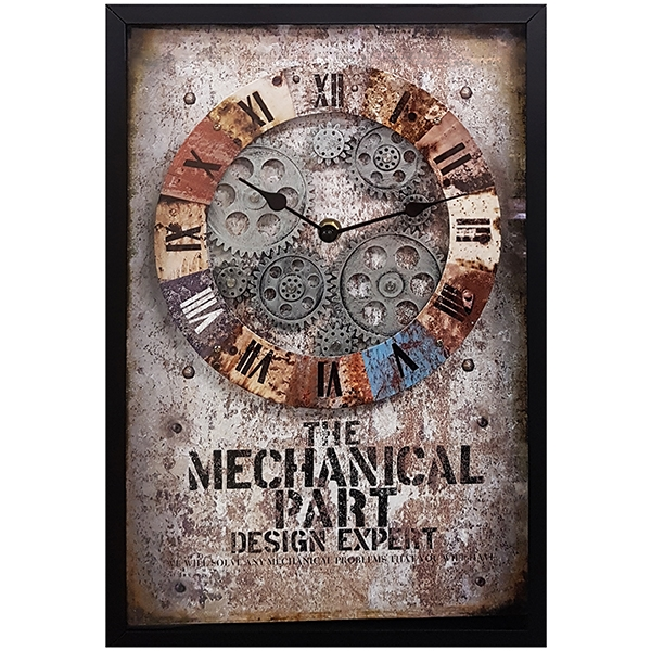 """""""THE MECHANICAL"""" שעון קיר גלגלי שיניים"""