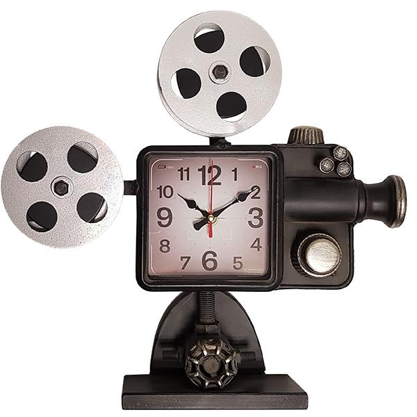 שעון שולחני בעיצוב רטרו בצורת מקרן קולנוע עתיק